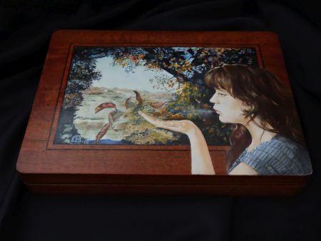 Les Feuilles Mortes, houten kistje, 31x23x5cm