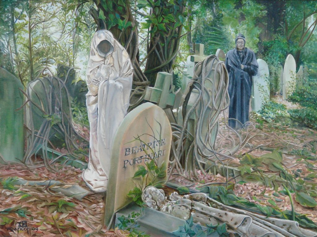 Dante bezoekt het graf van Beatrice, olieverf op paneel, 40x30cm