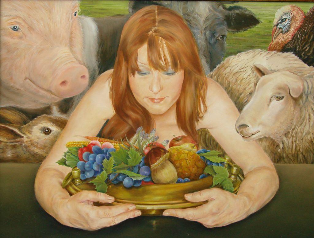 De Vegetariër, olieverf op paneel, 60x45cm
