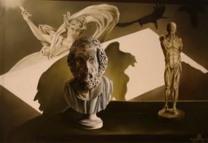 Kracht en Wijsheid, olieverf op paneel, 50x40 cm